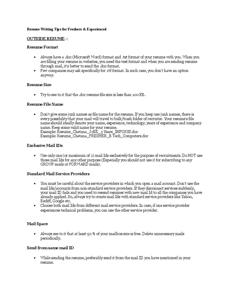 Resume Writing Tips For Freshers Resume Mail