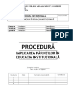 Procedura Implicarea Parintilor in Educatie