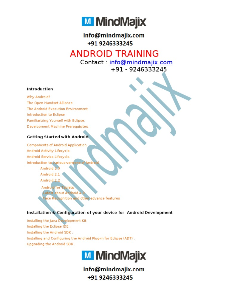 Android training online | Eclipse (Software) | Android (Operating