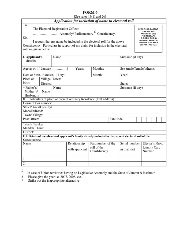Voter Id Card Application Form 6 In Hindi | Gemescool org