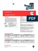 Cummins NTA855-G4 Specifications Sheet