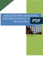 INFROME DE LECTURA PARA QUÉ SIRVE EL DISCURSO POLÍTICO CHARAUDEAU