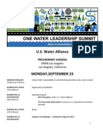 Preliminary One Water Leadership Summit Agenda