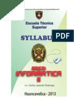 Silabo Taller Informatica II - Contenidos