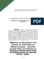 MANDADO SEGURANÇA - VAGA EM CRECHE