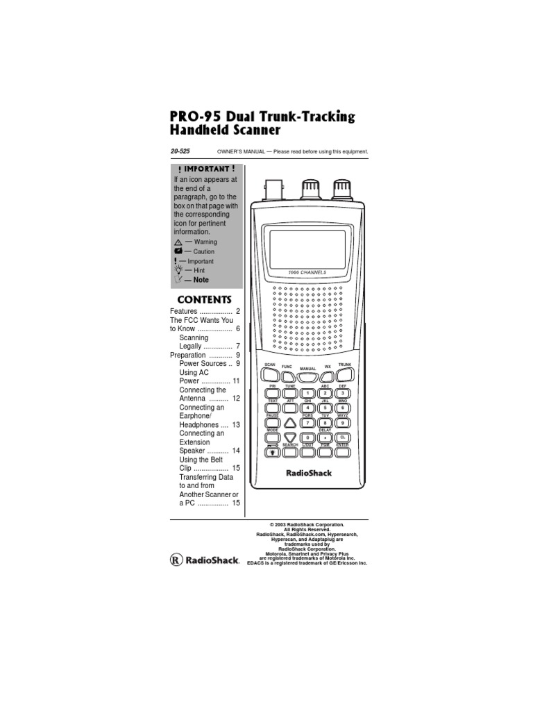 Radio Shack Pro-95 Scanner Manual | Battery (Electricity) | Rechargeable  Battery