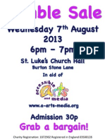 Jumble Sale Wednesday 7th August 6-7pm