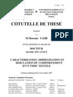 CARACTERISATION, MODELISATION ET SIMULATION DU COMPORTEMENT D'UN TISSU TEXTILE