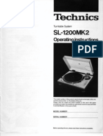 Technics SL1200MK2 Operating Instructions