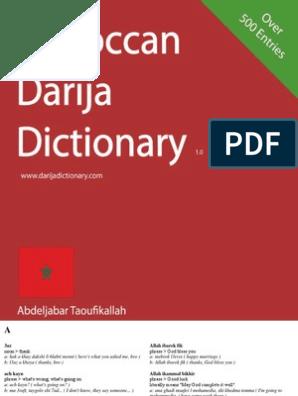 Moroccan Darija Dictionary v1 0   Verb   Adjective