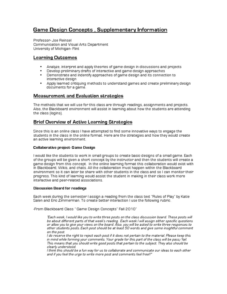 ReinselCourseCatalystF Game Design Design - Board game design document