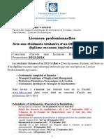 Avis.concours Licences Professionnelles