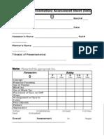 Short Assessment Sheet