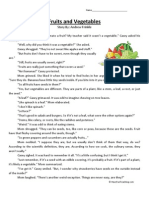 Fruits and Vegetables Fourth Grade Reading Comprehension Worksheet