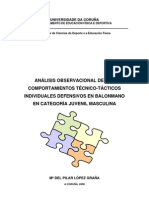 ANÁLISIS OBSERVACIONAL DE LOS COMPORTAMIENTOS TÉCNICO-TÁCTICOS INDIVIDUALES DEFENSIVOS EN BALONMANO EN CATEGORÍA JUVENIL MASCULINA  LopezGrana