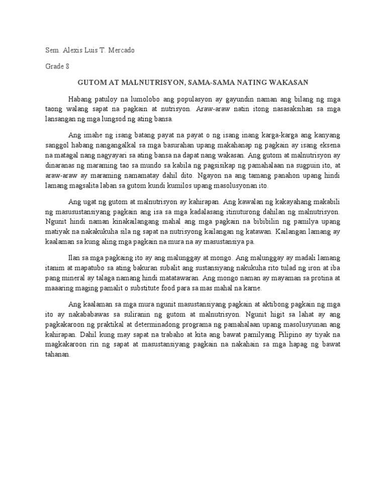 Gutom At Malnutrisyon Sama Sama Nating Wakasan Essay Examples Kwxkae Laokolam Info