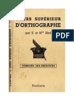 Langue Française BLED 2 CORRIGE Cours Supérieur d'Orthographe