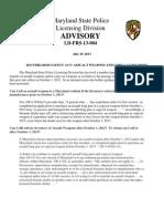 Licensing Div Advisory July 29