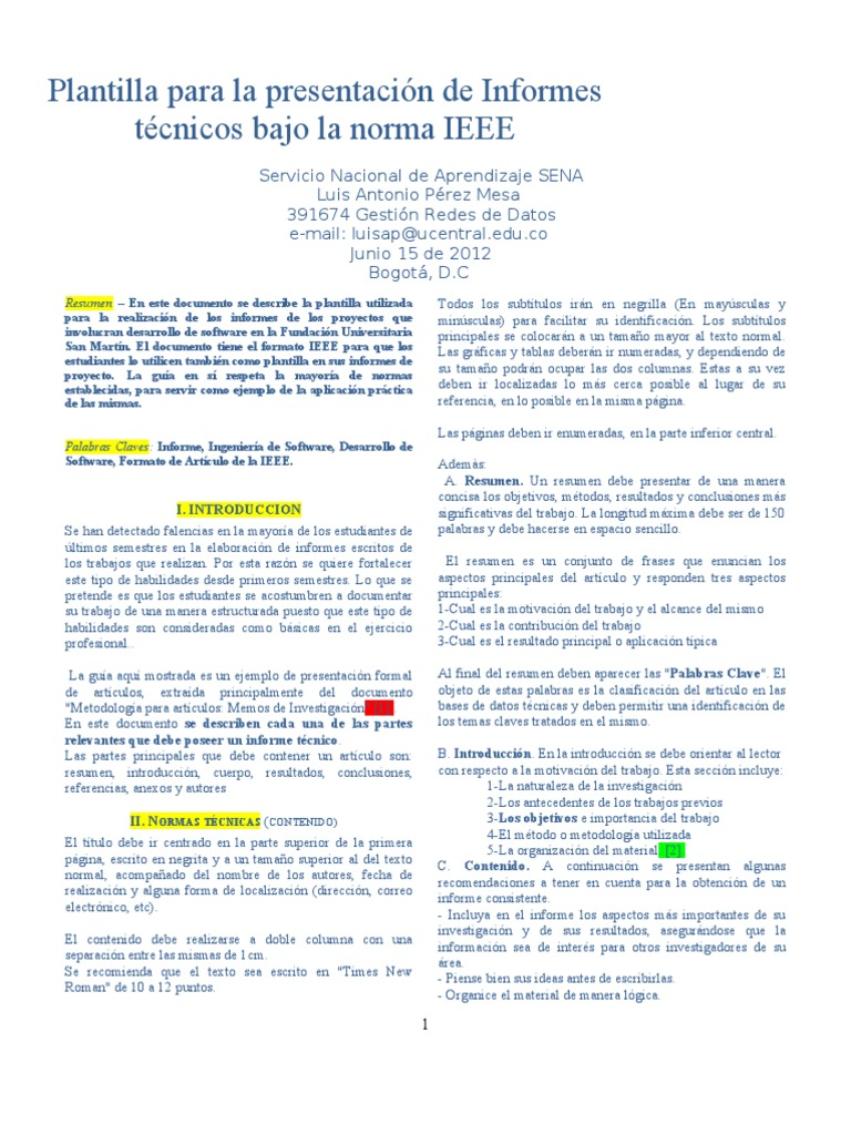 Dorable Plantilla De Formato Ieee Modelo - Ejemplo De Colección De ...