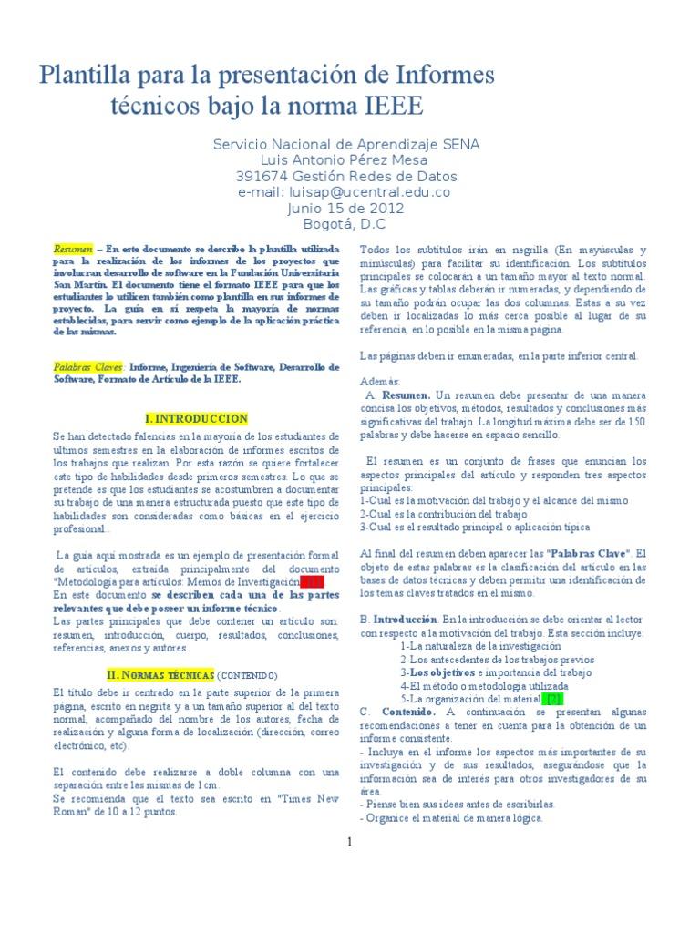 Asombroso Ieee Plantilla De Informe Viñeta - Ejemplo De Colección De ...