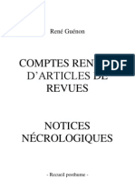René Guénon - Recueil posthume - Comptes rendus d'articles de revues - notices nécrologiques
