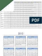 Calendario Horizontal 2013