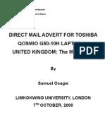 Direct Mail Advert for Toshiba Qosmio g50-10h in Uk