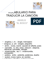 "Vocabulario de la canción "" Angelis"". El Bosco"