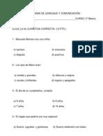 PRUEBA DE LENGUAJE Y COMUNICACIÓN historia de manu