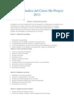 Plan de Estudios Del Curso Ms Project 2013