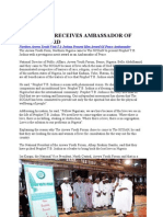 t.b. Joshua Receives Ambassador of Peace Award