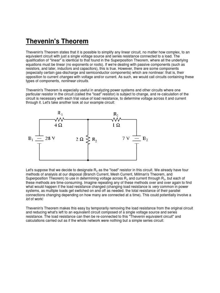 Thevenins Theorem Series And Parallel Circuits Electrical Network Thevenin Example