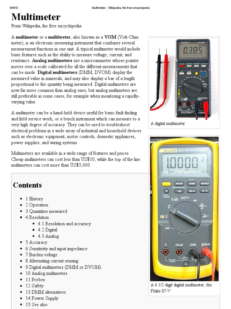 multimeter wikipedia the free encyclopedia electrical rh scribd com Cooper Wiring Devices Wall Plate Cooper Wiring Devices Wall Plate