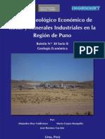 Boletin Nº 030- Estudio Geologico y Economico de Rocas y Materiales Industriales en la Region Puno