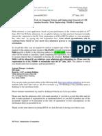 M Tech-CSE-2013 Written Test-Offer Letter-first List