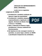 PARA REGULARIZAÇÃO DO EMPREENDIMENTO DA ÁGUA MINERAL