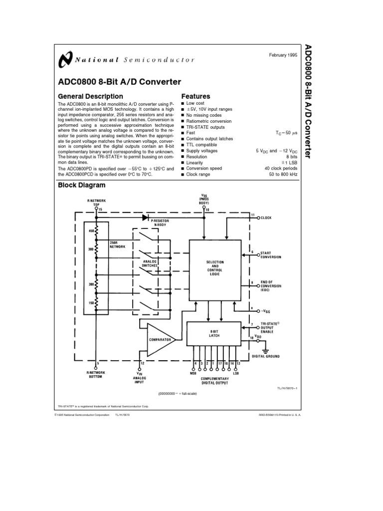 Adc 0800 Resistor Amplifier 8 Bit Comparator Circuit Diagram