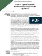 CURSO DE ESPECIALIZAÇÃO EM DOCÊNCIA NA EDUCAÇÃO INFANTIL