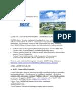 Kaist College of Business Scholarship Program