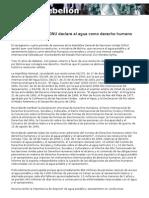 Bolivia Logra Que La Onu Declare Al Agua Como Derecho Humano
