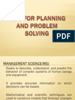 Aids for Planning and Problem Solving