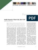 "Katz KA. Health Hazards of ""Don't Ask, Don't Tell"" -- New England Journal of Medicine Dec 2010"