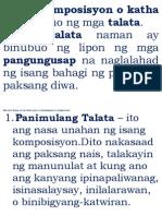 Ang Komposisyon o Katha Ay Binubuo Ng Mga Talata