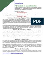 Geologists Examination Syllabus