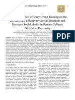The Effect of Self-efficacy Group Training on the Increase Self-efficacy for Social Situations and Decrease Social phobia in Female Colleges Of Isfahan University