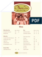 Olive and Fish Wine Menu