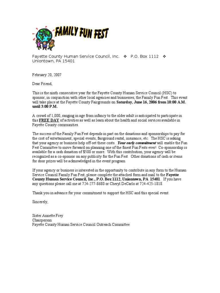 Sample summer festival sponsorship letter business spiritdancerdesigns Choice Image
