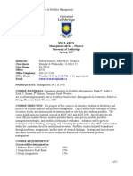 Security Analysis & Portfolio Management - Spring, 2007
