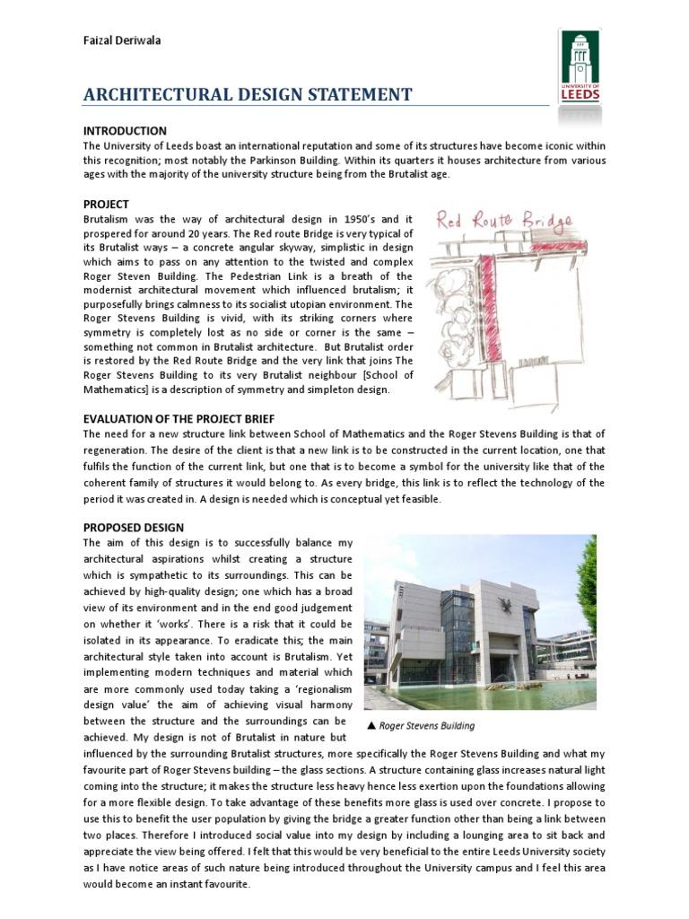 Architectural Design Statement | Glasses
