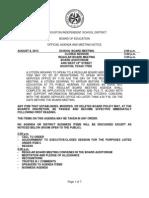 Aug. 8, 2013, Houston ISD Board Agenda